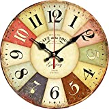 """Grazing 12"""" Vintage Rustic Country Tuscan Style Wooden Decorative Round Wall Clock (Colorful)"""