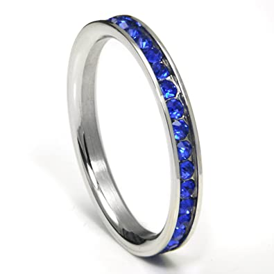 Amazoncom 316L Stainless Steel Royal Blue Cubic Zirconia CZ