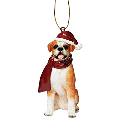 a334306558a Amazon.com  Design Toscano Christmas Ornaments - Xmas Boxer Holiday Dog  Ornaments - Christmas Decorations  Home   Kitchen