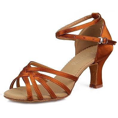 YFF Latin Dance Schuhe Satin professionelle Ballroom Tango Schuhe dünnen Absätzen Salsa, 7cm Schwarz, 8.