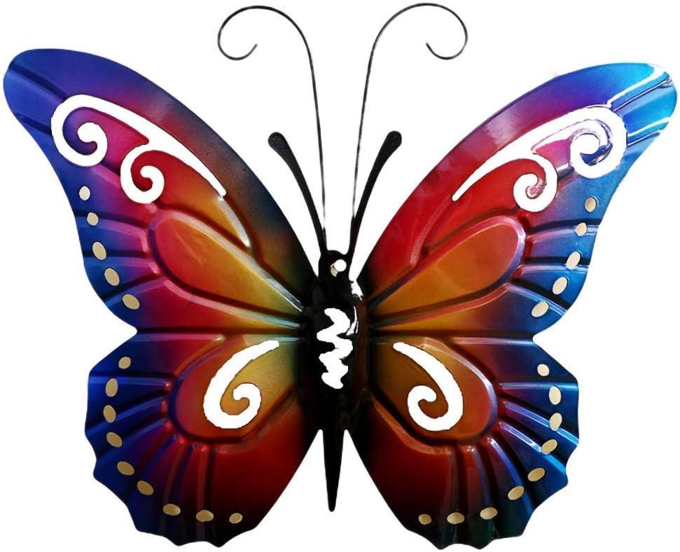 Metal Butterfly Wall Decor Wall Art Garden Decoration Hanging Insert Decoration Butterfly Wall Sculpture (Blue)