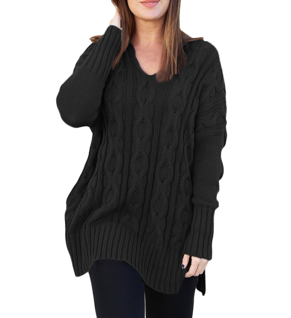 Eternatastic Women Casual V Neck Loose Fit Knit Sweater Pullover Black L