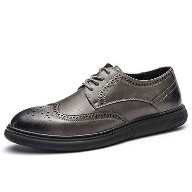 Xianshu Flach Schnalle Schuhe Starke Ferse England Stil Brogue Beiläufig Schuhe für Männer (Schwarz-39 EU) vRo8j1M2d