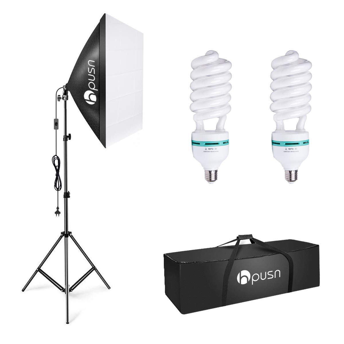 HPUSN Softbox Lighting Kit Photography Studio Light with 20-inch X 28-inch Reflector and 2pcs 85W 5500K E27 Bulb, Professional Photo Studio Equipment for Portrait Fashion Photography Video, etc. by HPUSN