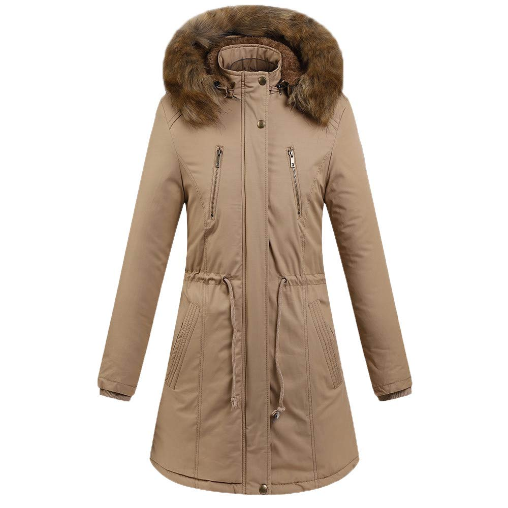 Women Winter Warm Thick Pompom Jacket Hooded Coat Slim Cotton-Padded Parka Outerwear (XL, Khiki) by Gallity Women Blouse