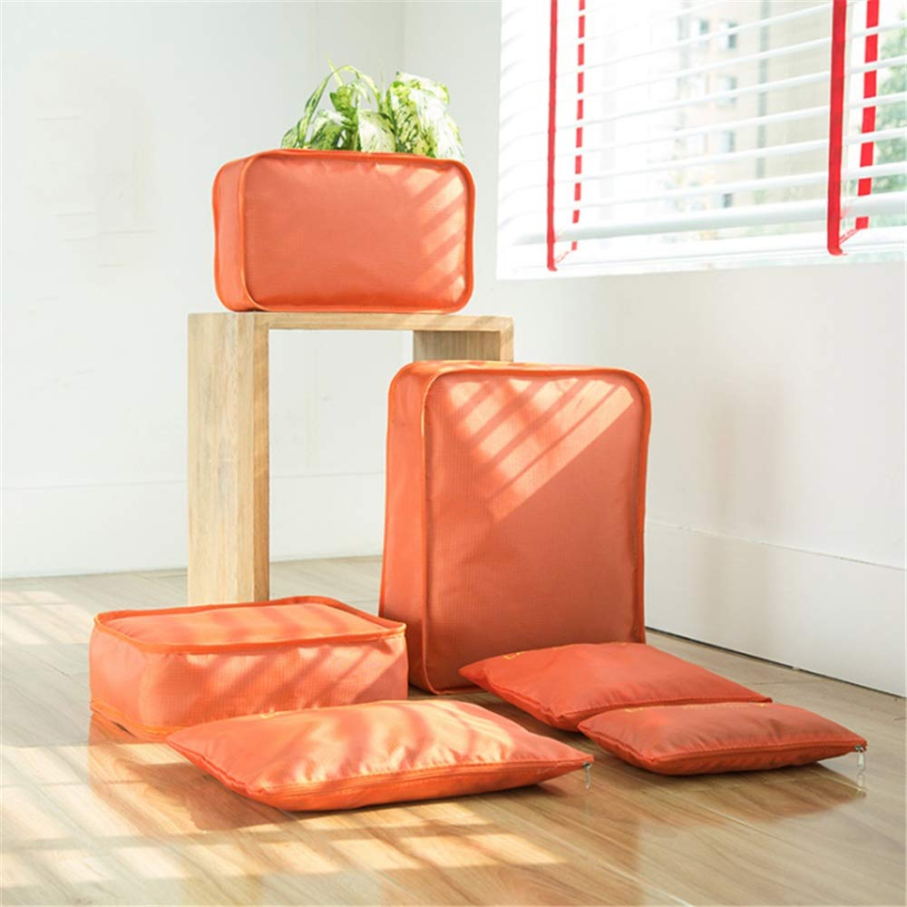 Color : Orange Toiletry Bag Travel 6 Set Packing Cubes Travel Luggage Packing Organizers With Laundry Bag