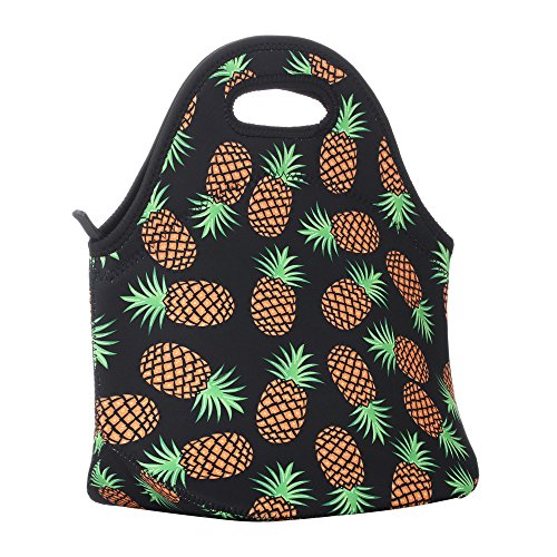 a47e72c0e9a6 Aiphamy Pineapple Neoprene Lunch Bag Insulated Lunch Box Tote for Women Men  Adult Kids Teens Boys Teenage Girls Toddlers (Black)