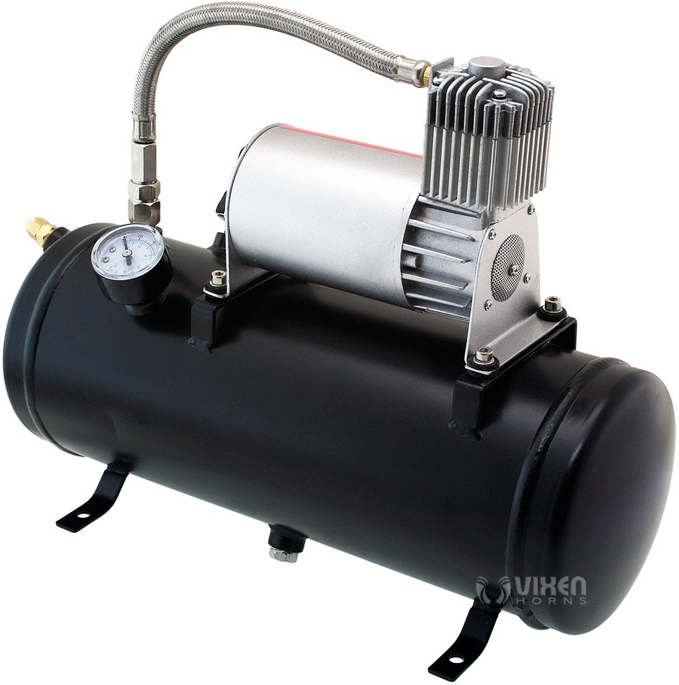 Vixen Horns Loud 149dB 4/Quad Black Trumpet Train Air Horn with 1.5 Gallon Tank and 150 PSI Compressor Full/Complete Onboard System/Kit VXO8530/4114B by Vixen Horns (Image #6)