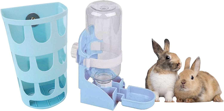 kathson Rabbit Waterer Feeder,Pet Cage Suspended Water Dispenser,Hanging Automatic Bottle,Bunny Hay Feeder Rack and Plastic Hay Holder Manger Rack for Rabbits Guinea Pig,Chinchilla Ferret(Blue)