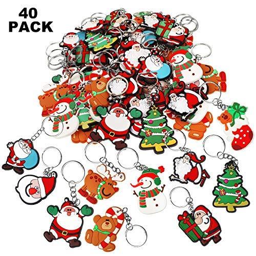 Amazon.com: 40 llaveros de Navidad con diseño de dibujos ...