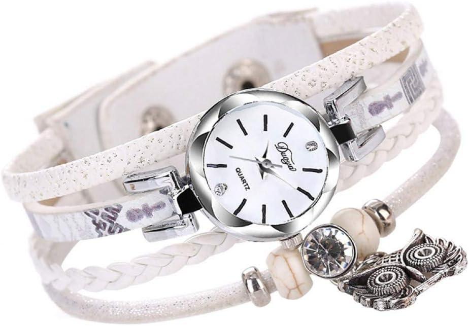 DMUEZW Multicolor Trenzado Pulseras de Cuero Plata Antigua búho Colgante Pulsera Relojes para Mujeres niñas Reloj de Pulsera