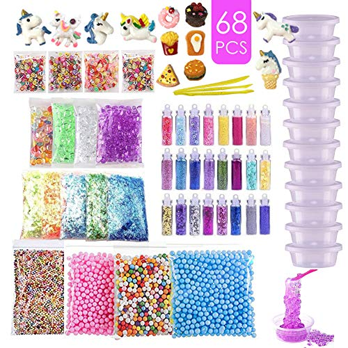 Slime Supplies Kit Slime Add Ins, Slime Kit for Girls and Boys Includes Unicorn Slime Charms, Glitter Sheet Jars, Foam Balls, Fruit Slices, Fishbowl Beads, Sugar Paper, Slime Tools and Containers