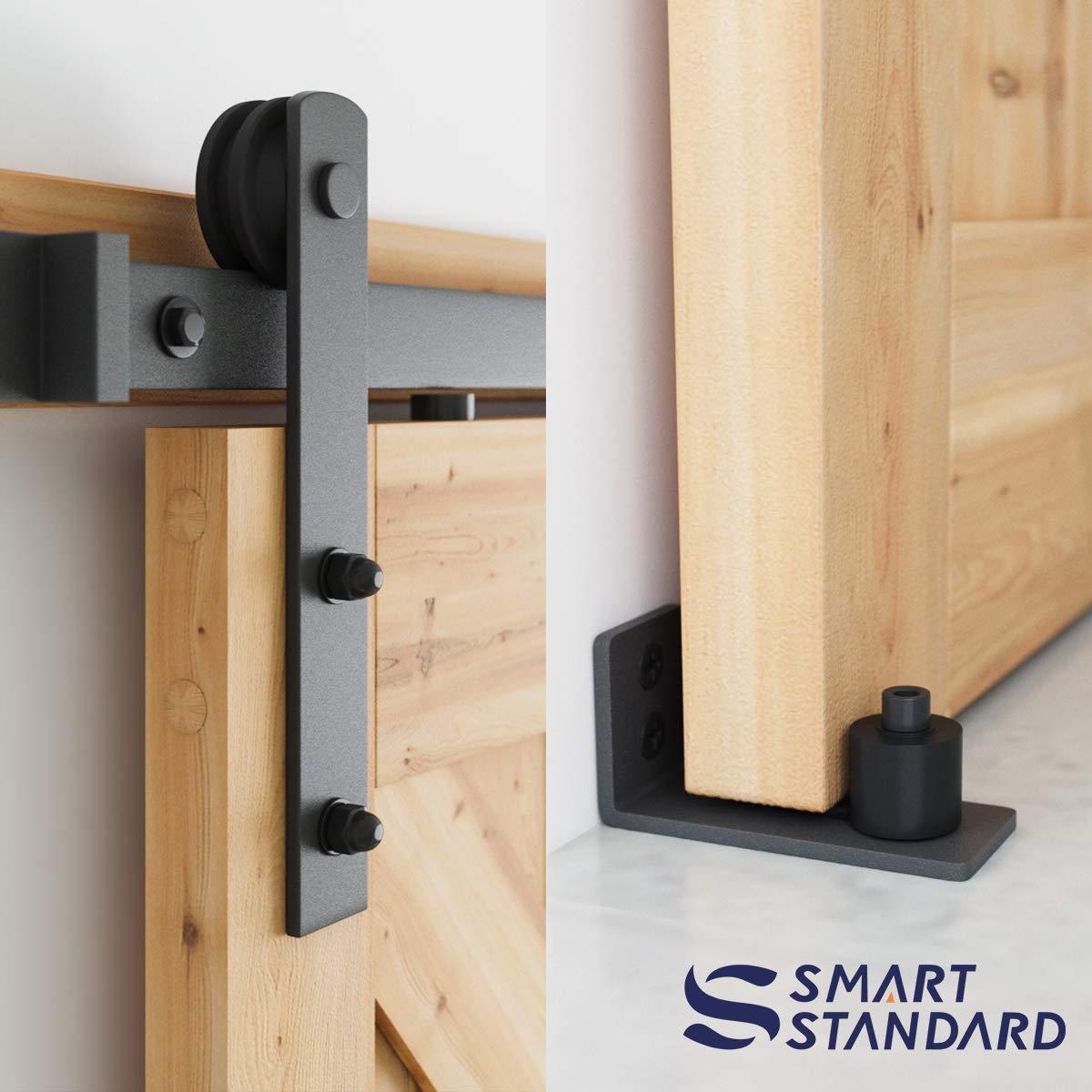 6.6 FT Heavy Duty Sturdy Sliding Barn Door Hardware Kit, 6.6ft Double Rail, Black, (Whole Set Includes 1x Pull Handle Set & 1x Floor Guide & 1x Latch Lock) Fit 36''-40'' Wide Door Panel (I Shape Hanger) by SMARTSTANDARD (Image #3)