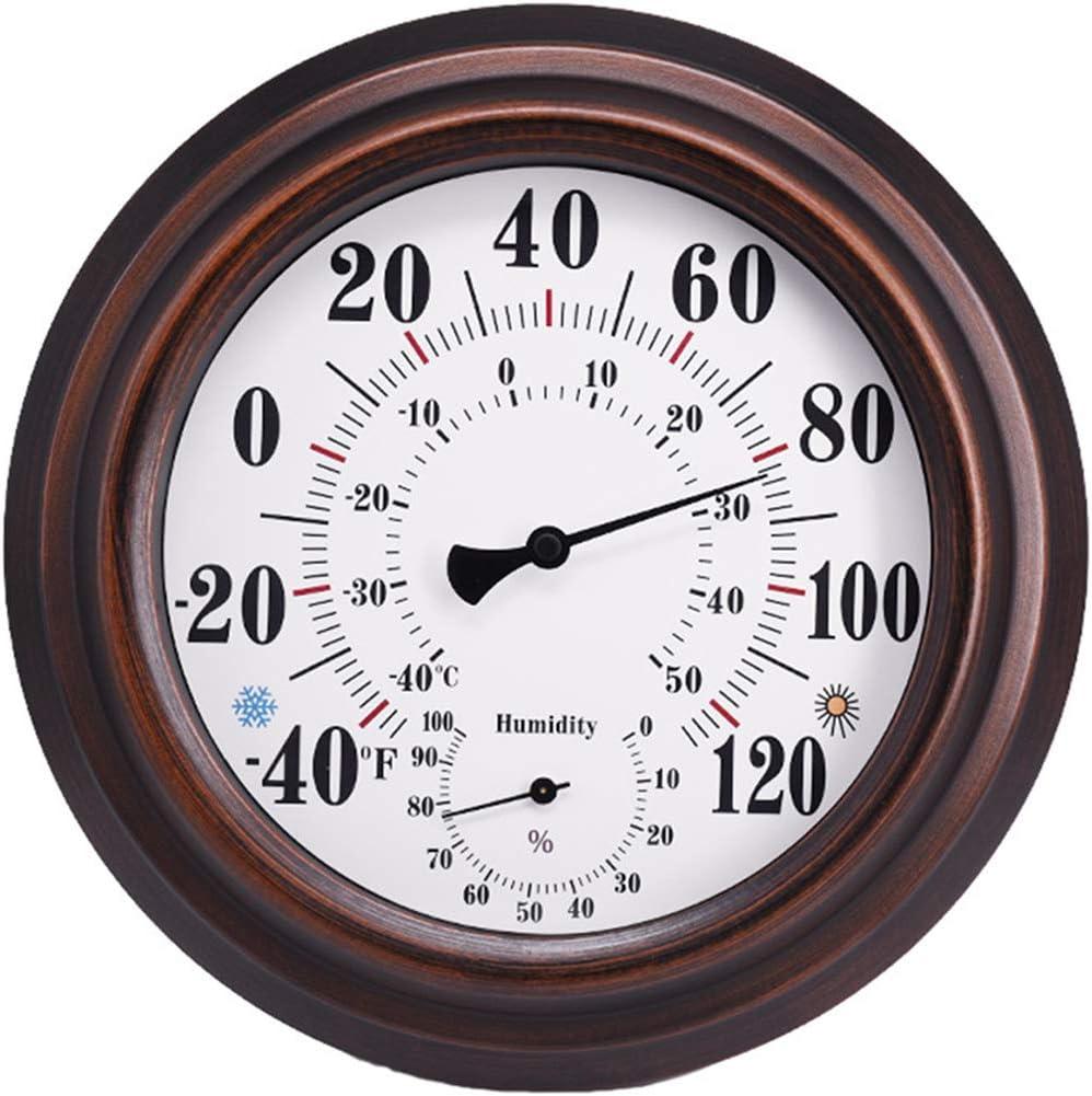TermóMetro Higrómetro para Interiores y Exteriores, Colgar en La Pared Termómetro Higrómetro para Medir, Decoraciones para Interiores, Bronce, para Habitación, Cocina, Patio (20 cm)