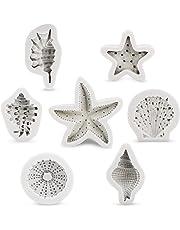 Starfish Fondant Molds, Beasea 4pcs Cake Decorating Mold 3D Starfish Seashells Conch Silicone Mold Beach Theme Molds Reusable Fondant Sugar Craft Tools Chocolate Candy Molds Kitchen Baking