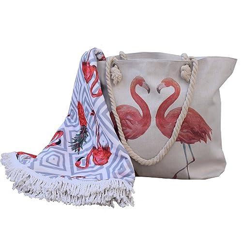 bolso+toalla redonda+monedero, gran capacidad diseño flamenco 2018 con asas de cuerda marinera: Amazon.es: Zapatos y complementos