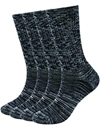 4 Pack Women's Merino Wool Outdoor Hiking Trail Crew Sock (US Shoe Size 4-10½, Black/Grey/Multi)
