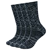 EnerWear 4 Pack Women's Merino Wool Outdoor Hiking Trail Crew Sock(US Shoe Size 4-10½, Black/Grey/Multi)