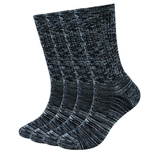 EnerWear 4 Pack Women's Merino Wool Outdoor Hiking Trail Crew Sock(US Shoe Size 4-10½, Black/Grey/Multi) (Socks Thin Wool)