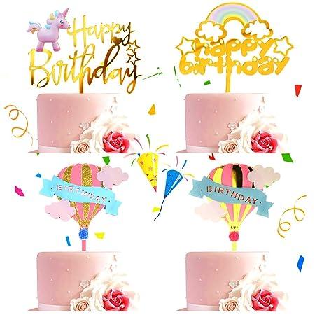Happy Birthday Topper BESTZY Cupcake Toppers 4 piezas Tarta ...