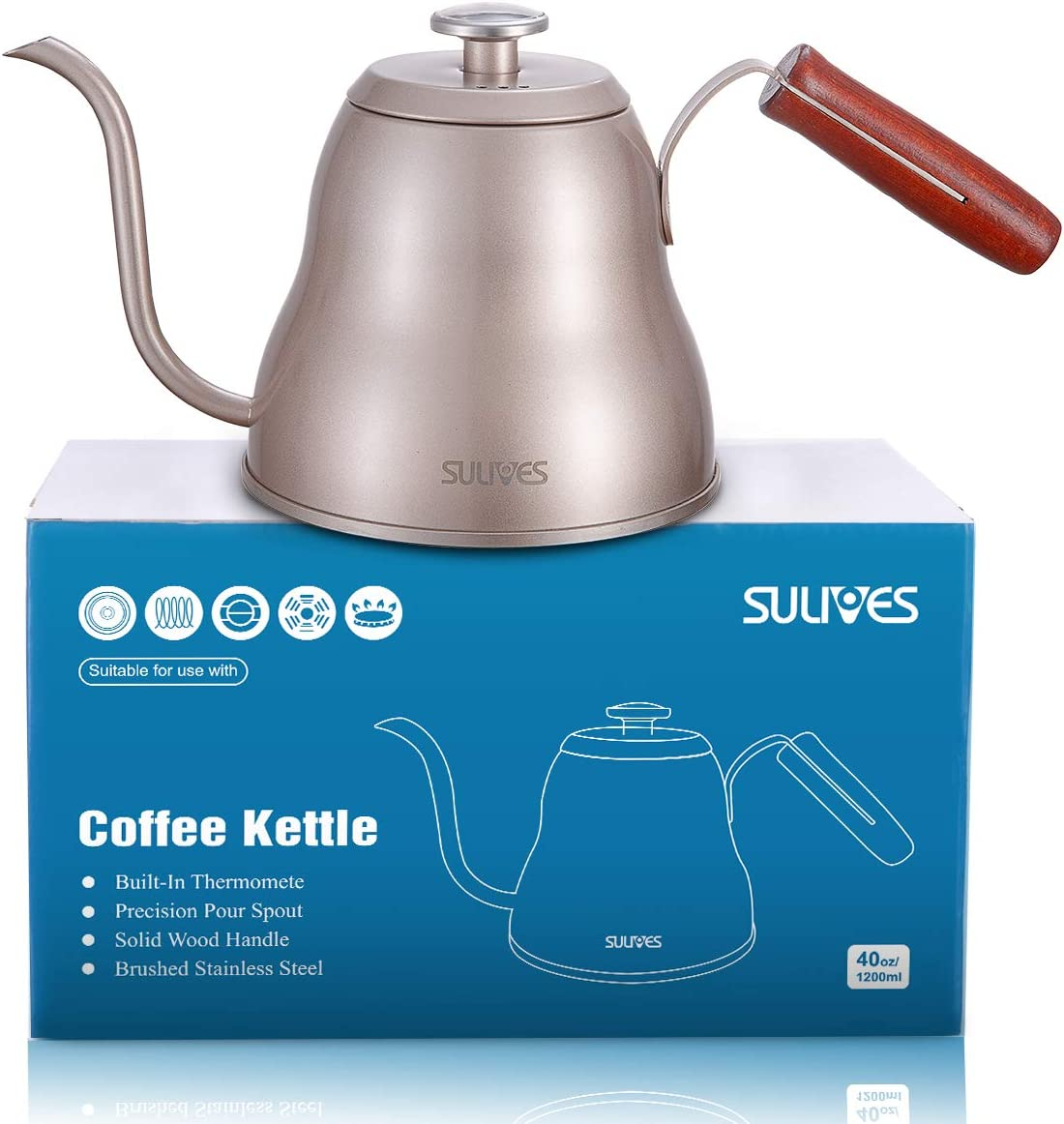 SULIVES 1.2L 40oz Stainless Steel with Built-In Thermometer Pour Over Coffee Kettle, Gold