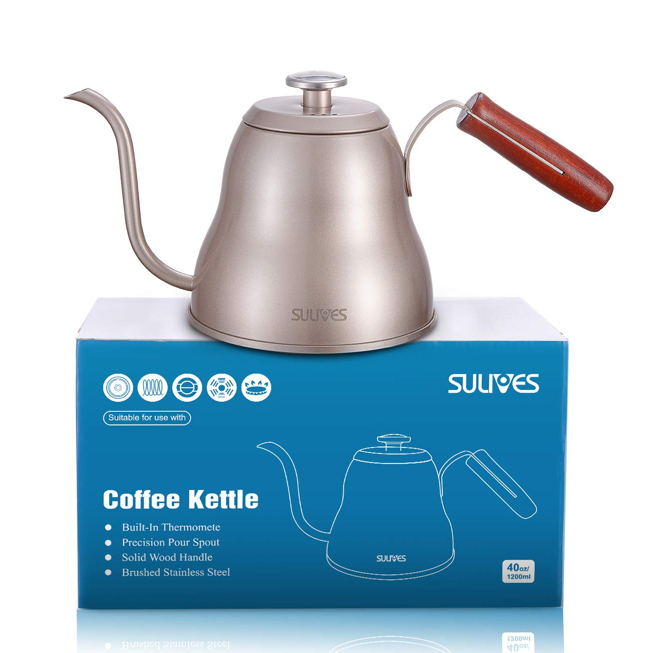 SULIVES 1.2L/40oz Stainless Steel with Built-in Thermometer Pour Over Coffee Kettle, Gold by SULIVES