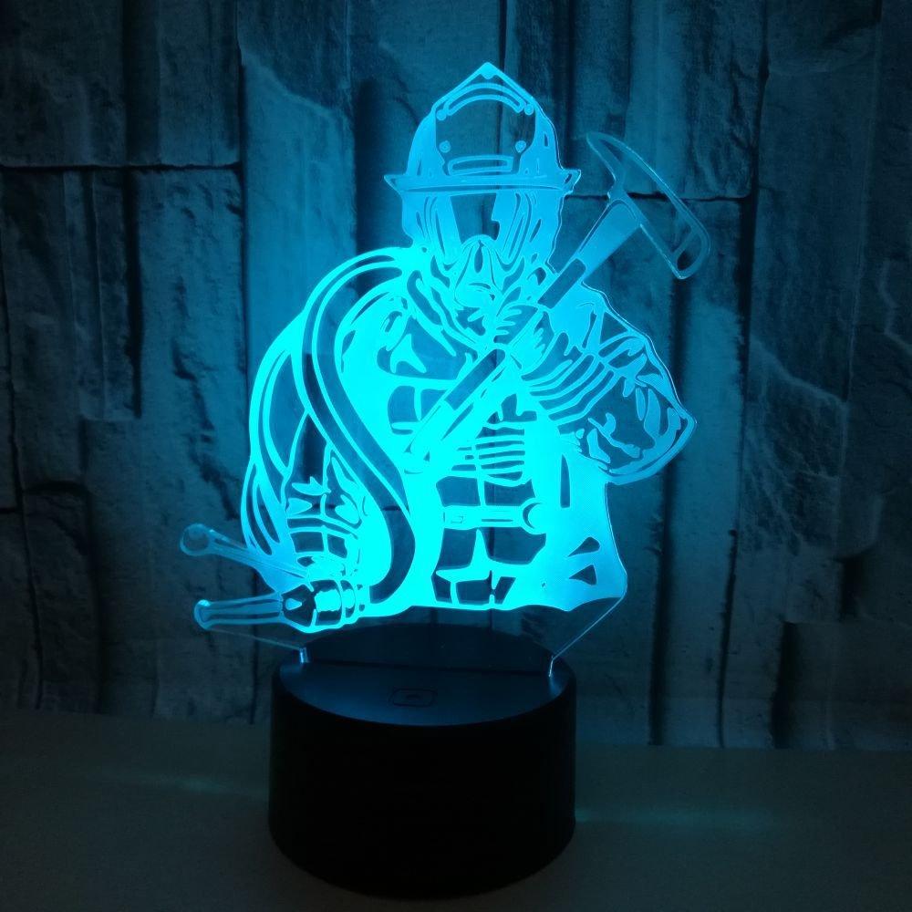 3d Les Pompiers Illusion Lampe De Lumiere De Nuit 7 Couleurs