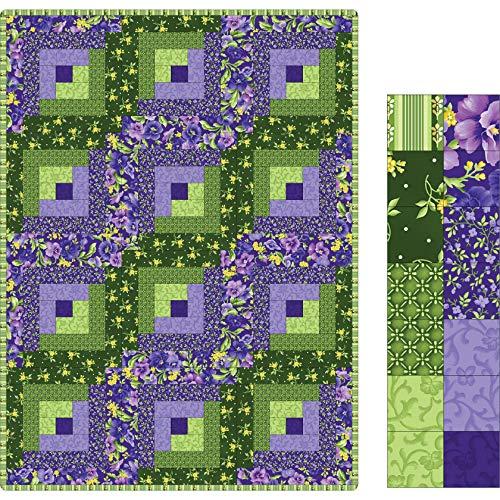 Maywood Studio Quilt Kit Pod Emma's Garden 12 Block Log Cabin Fabric, ()