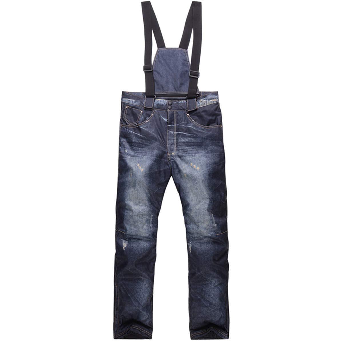 Denim Bretelle Pantaloni da Sci Casual Jeans da Sci Impermeabile e Traspirante Warm Skiing Pantaloni da Snowboard per Uomini e Donne