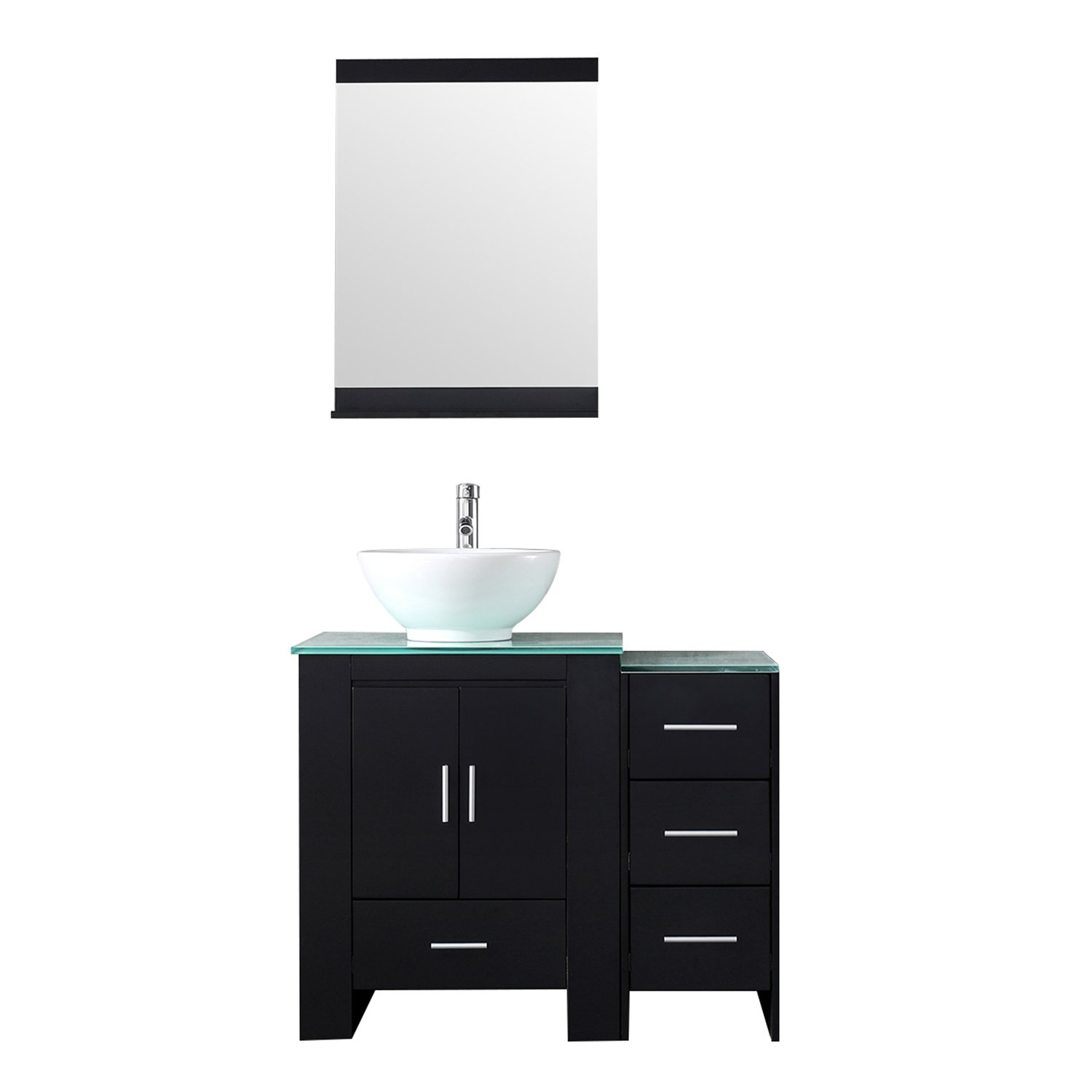 Bathjoy 36 Inch Bathroom Wood Vanity Cabinet Top Round Ceramic