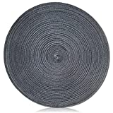 "Unique & Custom {15'' Inch} Single Pack Circle ""Smooth Texture"" Large Reversible Table Placemats Made of Washable Genuine Flexible Cloth w/ Round Martini Sew w/ Dark Steel Metal Shade Design [Grey]"