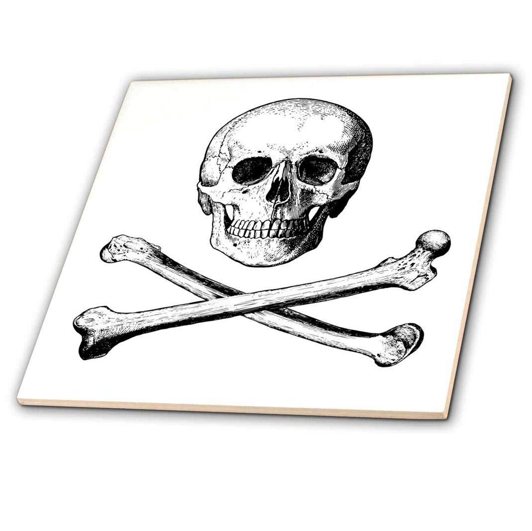 ct/_201872/_4 3dRose 3D Rose Crossbones Picture of Skull and Bones on White Background-Ceramic Tile 12-inch