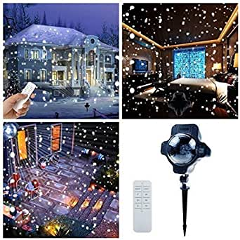 Snowfall Outdoor Led Christmas Lights Displays Projector Show Waterproof Rotating Projection Snowflake Lamp with Wireless Remote for Xmas Halloween Party Wedding and Garden Decorations