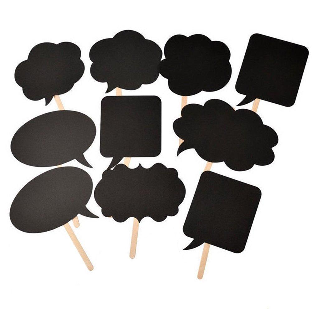 Black 10pcs Yansanido Pack of 10 Black Photo Booth Props Kit Photography Props Black Wedding Photo Photograph Props DIY Funny Speech Card Paper