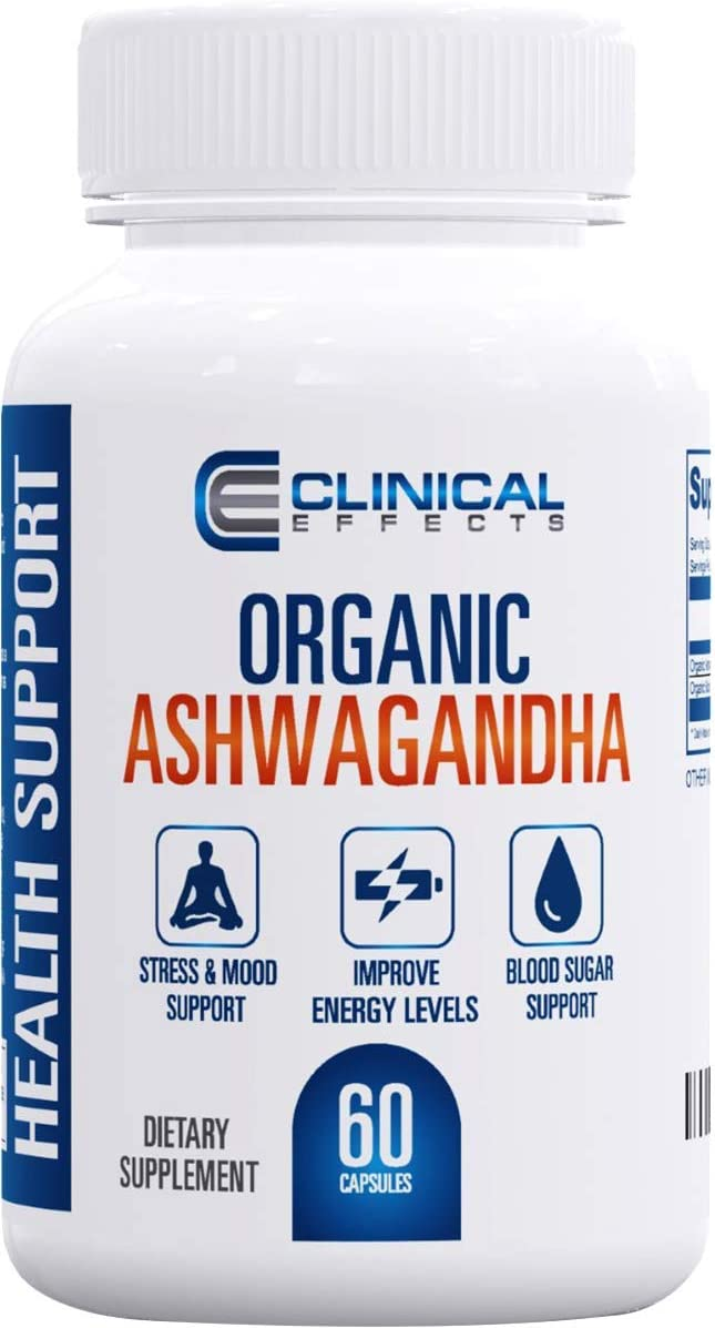 Clinical Effects: Organic Ashwagandha - Natural Stress Relief and Stamina Support - 60 Capsules - with Black Pepper for Enhanced Absorption - No GMO - Suitable for Vegetarians - Made in The USA