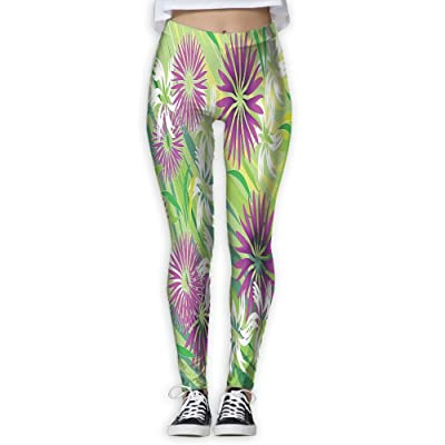 XINSHOU Women's Eastern Floral Illustration With Nature And Environment Elements Artprint Leggings