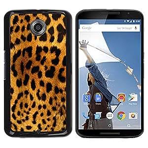 Caucho caso de Shell duro de la cubierta de accesorios de protección BY RAYDREAMMM - Motorola NEXUS 6 / X / Moto X Pro - Leopard Pattern Brown Black Yellow Cat