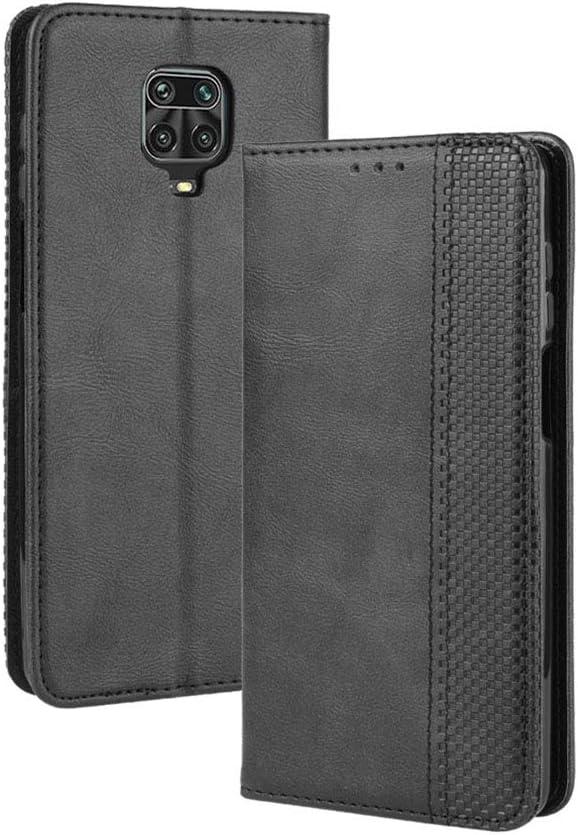 HAOYE Funda para Xiaomi Redmi Note 9S/Note 9 Pro, Cuero Retro Cover, Piel PU Suave Flip Folio Caja Soporte Plegable Funda Cáscara, Wallet Case con Ranuras para Tarjetas, Negro