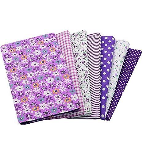 7 Telas diseños violetas de 50 X 50 cm para manualidades, costura, scrapbooking,