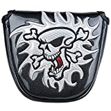 New White Black Skull Mallet Putter Cover Magnetic Golf Headcover Fit 2Ball Head Cover