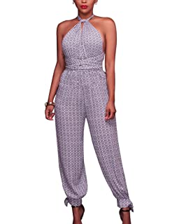 58d9dd1acf1 Guiran Women s Elegant Sleeveless Halter Neck Romper Playsuits Long Evening  Party Cocktail Formal High Waist Wide