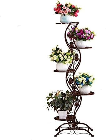 JTWJ El jardín de 5 Pisos, jardín, jardín, Patio, Soporte de exhibición de Soporte de Maceta de Hierro Forjado, Puede acomodar 5 macetas (Color : Brass): Amazon.es: Hogar