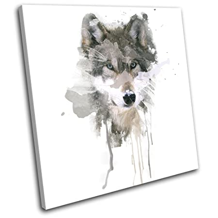 Bold Bloc Design Mountain Wolf Paint Abstract Animals 90x90cm Single Canvas Art Print Box Framed Picture Wall Hanging Hand Made In The Uk Framed