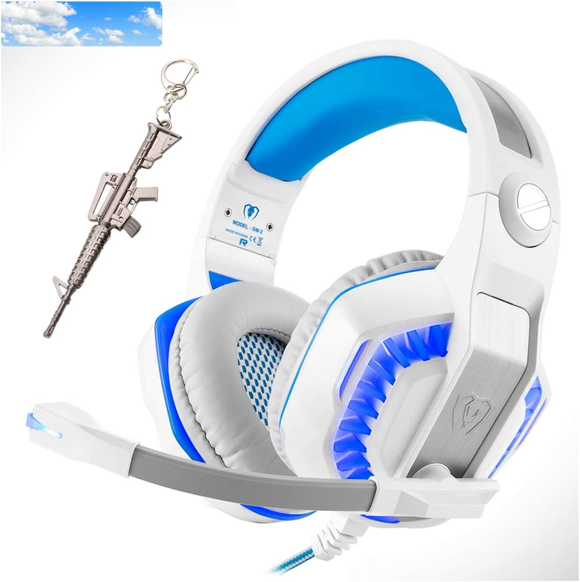 Pro Stereo Gaming Headset for PS4 Xbox One PC, All-Cover Over Ear Headphones Deep Bass Surround Sound with360° Noise Canceling Mic & LED Light for Nintendo Switch Mac Laptop (Sky Blue)