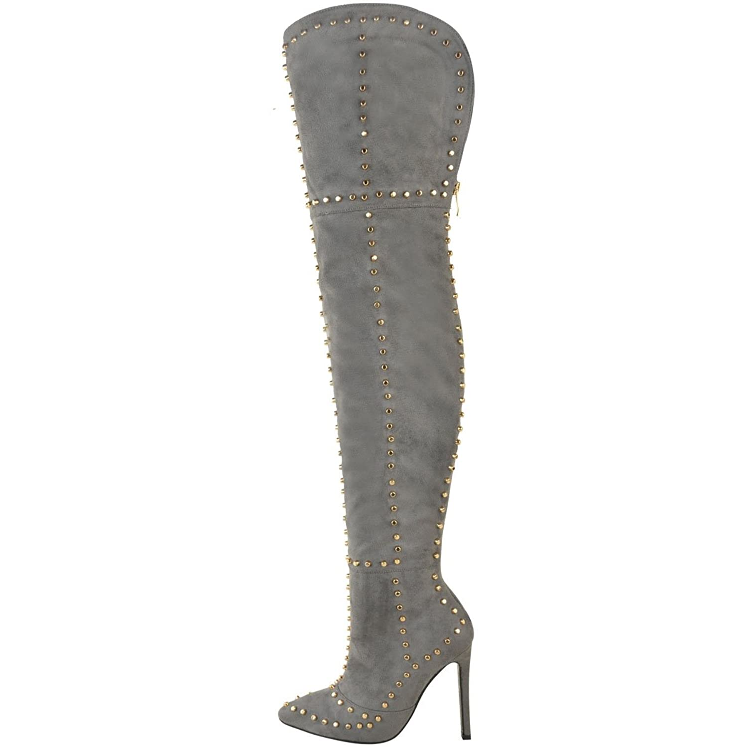 Fashion Thirsty Womens Gold Studded Thigh High Stiletto Spikes Boots Size:  Amazon.ca: Shoes & Handbags