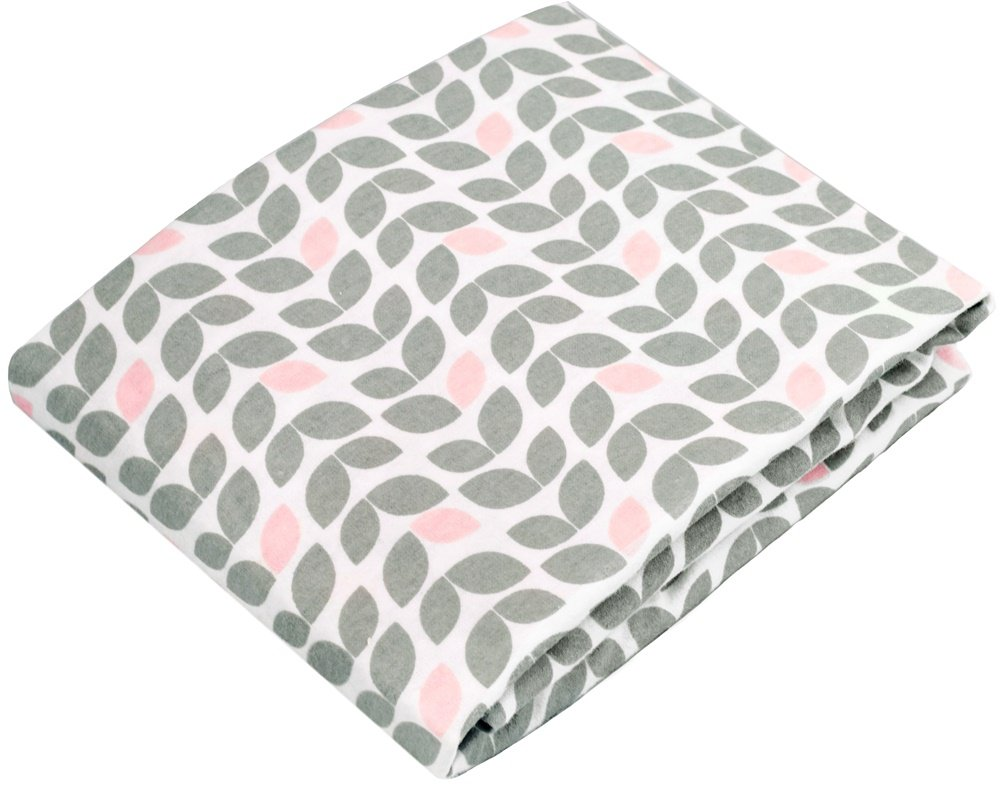 Kushies Changing Pad Cover With Safety Straps, Soft 100% Breathable Cotton Flannel, Made in Canada, Grey Petal Kushies Baby S347-517