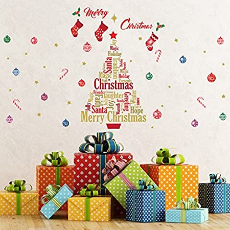 christmas decorations wall stickers merry christmas with english quotes christmas tree wall murals