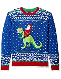 Blizzard Bay Mens Santa Riding Trex Crew Neck Ugly Xmas