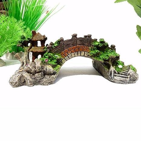Colorful Classic arco puente Fish Tank Decoración Acuario Rockery puente Pavilion diseño de árbol Ornamento de resina para manualidades decorar ...