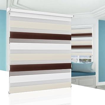 Rollos für Fenster ohne Bohren Doppelrollo Klemmfix Klemmrollo Verdunkelung  für Kinderzimmer 45x150 cm Weiss Beige Braun